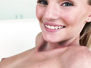 Tiny Blonde Girl Makes Him Cum In Her Mouth