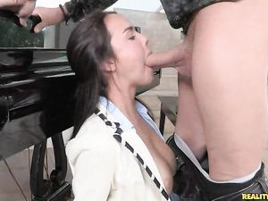 Cock Throating Teen Lies On Her Back For Hardcore Sex