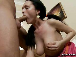 Rough Mouth Fucking Of A Big Tits Teenage Slut