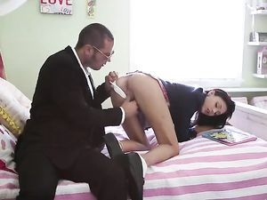 Schoolgirl Pussy Stretched Out By His Thick Boner
