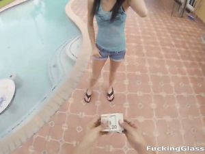 Outdoor POV Blowjob From A Teenage Nerd He Pays