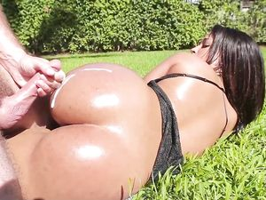 Cumshot On Her Big Oiled Latina Ass Outdoors