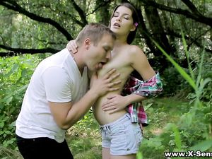 Sensual Teen Sex In The Woods With A Beauty