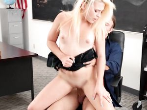 Teacher Gives Special Attention To A Blonde Teen Slut