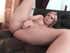 Fat Ass Blonde Teen Likes Both Her Huge Dildos
