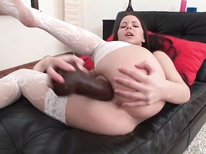 White Stockings Teen With Huge Toys For Fucking