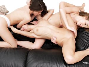 Three Lusty Lezzies Playing With A Naughty Vibrator