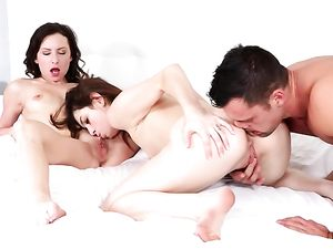 Cum Swapping Teens Take On His Hard Dick Together