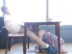 Under The Table BJ And Morning Sex With A Redhead
