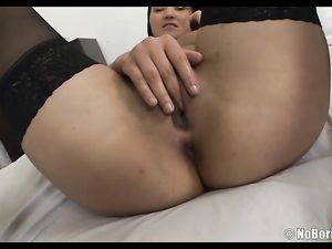Ass Teasing Babe In Black Stockings Wants Two Dicks