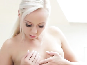 Flawless Solo Blonde Girl Strips Tenderly To Turn You On