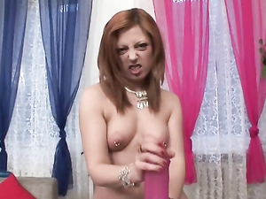Nipple Rings Are Naughty On A Stripping Solo Redhead