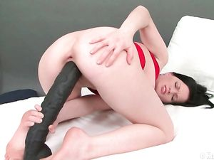 Big Black Dildo Plunges Into Her Teen Pussy