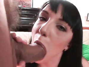 Sweet Slut On Her Knees Blowing Two Horny Guys