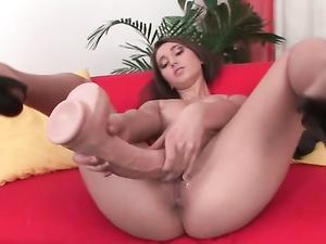 Young High Heeled Slut Fucks Her Huge Dildo