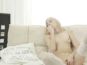 Petite Blonde In White Lingerie Masturbating